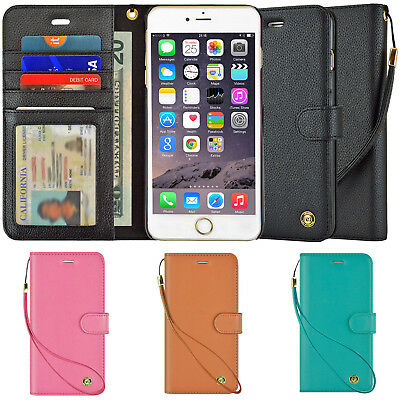 Leather Cover Card Wristlet Wallet Case For Apple iPhone X 6S 7 8 Plus XS Max
