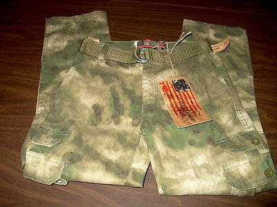 NWT Vintage Cargo Chams Boys Size 12 Camouflage Pants with Belt 6 Pockets Green