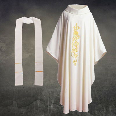 White Chasuble Lamb Cross Embroidered Priest Church Mass Vestments w Roll Collar