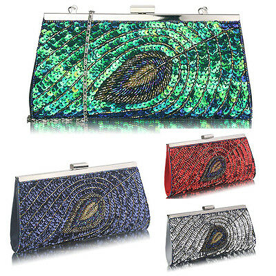 df1dd07363a6 Ladies Sequin Peacock Feather Clutch Bags Women s Wedding Fashion Evening  Bags