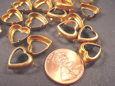 18 Vintage Brass Heart Prong Settings 12mm NO RINGS