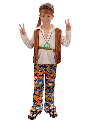 1960s Hippie Dude 3-13  Boys Fancy Dress 60s Hippy Kids Child Costume Outfit 70s
