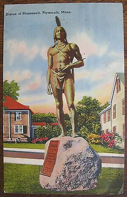Giant Postcard - Statue of Massasoit, Plymouth, Mass. (statue by Cyrus Dallin