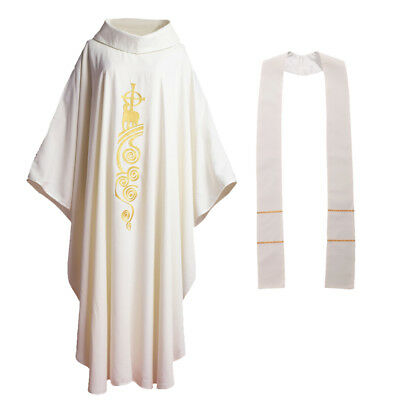 Holy Catholic Priest Chasuble Robe Church Vestments Roll-Collar Lamb Embroidery