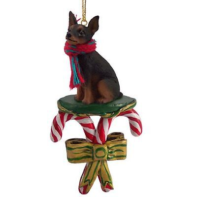 MINIATURE PINSCHER Black Tan Dog  Candy Cane Christmas Tree ORNAMENT
