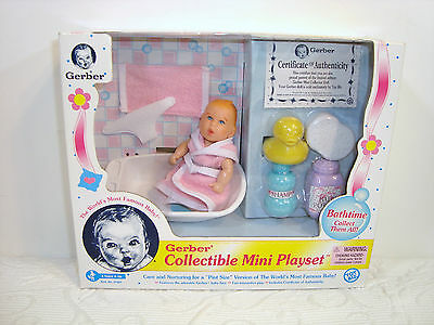 NEW Gerber Collectible Mini Playset Bathtime Collector Baby Doll Authentic 1997