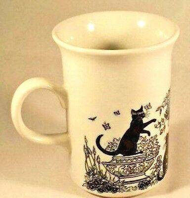 Black Cats Garden Birds Bath Butterfly Churchill Porcelain China Coffee Tea Mug