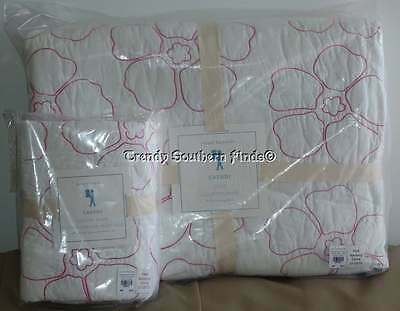 2P Pottery Barn Kids Pink Tropical Floral CASSIDY Quilt STANDARD Sham Set TWIN