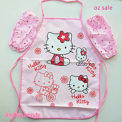 New Girl Kid pink Hello Kitty Waterproof Art Aprons Protector Smock Shirt gloves