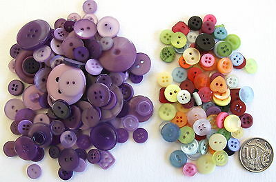 100 New BUTTONS LILAC + 100 SMALL MIXED BUTTONS - Assorted Sizes & Shades