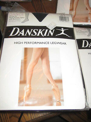 NEW DANSKIN WOMEN'S DANCE STYLE #32 BLACK Mesh Footed w/ Backseam TIGHTS  A-C