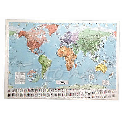 Wall MAP OF THE WORLD Chart Political Flags Home Art World Map Poster Decor Gift