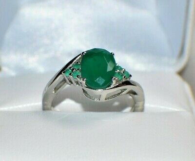 3.67 ct.  NATURAL GENUINE AFRICAN EMERALD .925 STERLING  SILVER COCKTAIL RING