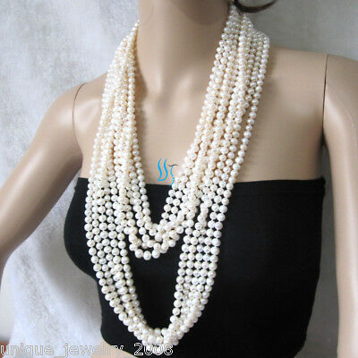 """5 Strands 60"""" 6-8mm white freshwater pearl necklaces No Clasp Jewelry"""