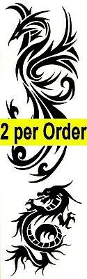 Dragon & Pheonix 2 Temporary Fake Tattoos Mythical Strength Waterpoof Body Art