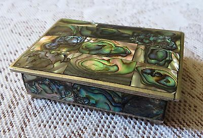 "Vintage Alpaca Mexico Silver and Abalone Trinket Box 3-1/8"" x 2-1/4"""