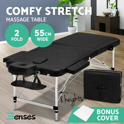 Zenses 55cm Portable Aluminium Massage Table 2 Fold Massage Bed Beauty Therapy