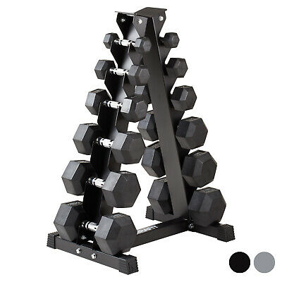 Mirafit 2kg-40kg Rubber Dumbbell Hex Weights & Storage Tree Dumbells 20kg/30kg