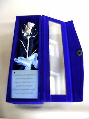 "WEDDING/ANNIVERSARY GIFT Silver Dipped Real Rose 6""in Blue Satin & Velvet Box"