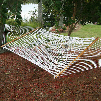 Double Hammock Tree 2 People Person Patio Bed Swing New Cotton Rope Outdoor