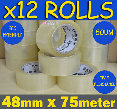 12 ROLLS HEAVY DUTY QUALITY CLEAR PACKAGING PACKING/SHIPPING TAPE 48mm x 75m