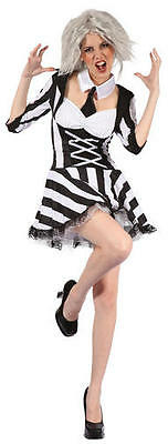 Ladies Beetlejuice Film Fancy Dress Costume Adult Psycho Halloween Party Outfit