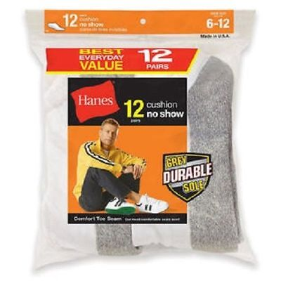 Hanes Men's Cushion No Show Socks 12 Pack Grey Durable Sole New In The Bag
