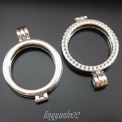 4X Vintage Silver Alloy Round Double Ring Photo Frame Pendant Lockets Findings