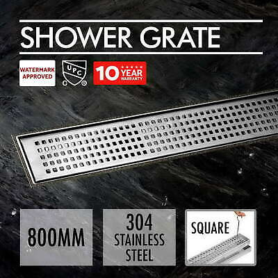 800mm Square 304 Stainless Steel Shower Grate Drain Floor Waste Linear Bathroom