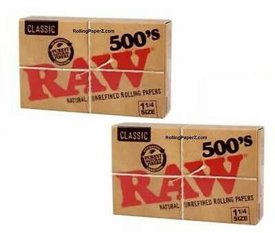 2X RAW 500's 1 1/4 Size Cigarette Rolling Papers - TWO FLAT PACKS=1000 Leaves