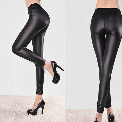 Ladies Faux Leather Look Panel Leggings Jeggings Womens Stretch Trousers Black