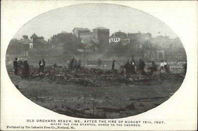 Old Orchard Beach ME 1907 Fire Ruins Postcard