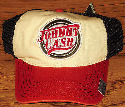 JOHNNY CASH TRUCKER HAT/CAP Beige/Red/Black Licensed NEW