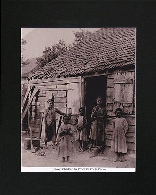 Slave Children In Front Of Their Cabin Photo Reprint Matted