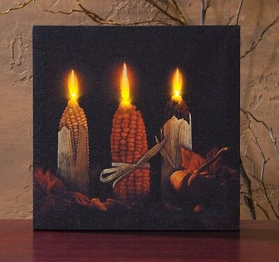 Indian Corn Candles with timer Fall Radiance Lighted Canvas Picture  12220 NEW