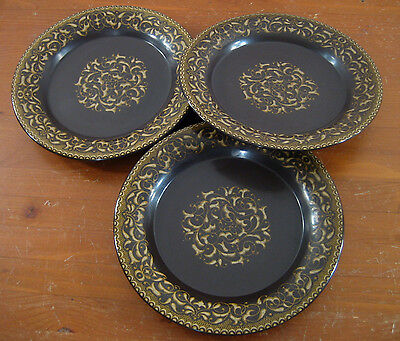 Jamoca Franciscan 3 Dinner Plates Brown Yellow Scroll Earthenware Man Cave