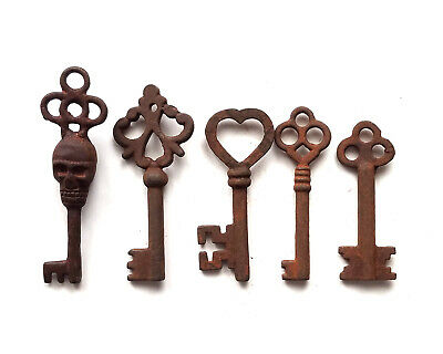 Antique Style Iron Skeleton Keys Lot of 5 - B