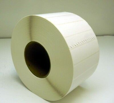 "Lot 22,000 NCR Thermal Transfer Label White 4"" x 1"" Perforated 3"" Core 4 Rolls"