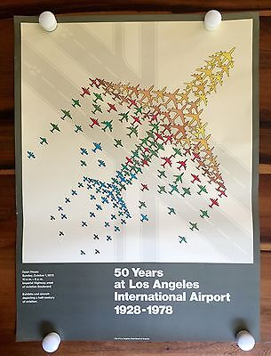 Vintage 1978 50 Years LAX Los Angeles International Airport Jet Airplane Poster