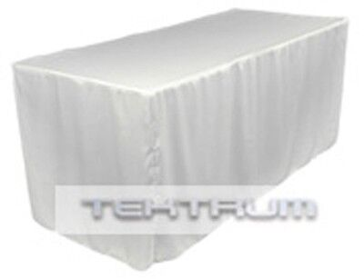 TEKTRUM 6-Feet Long Fitted Table DJ Jacket Cover for Trade Show-Heavy Duty-White