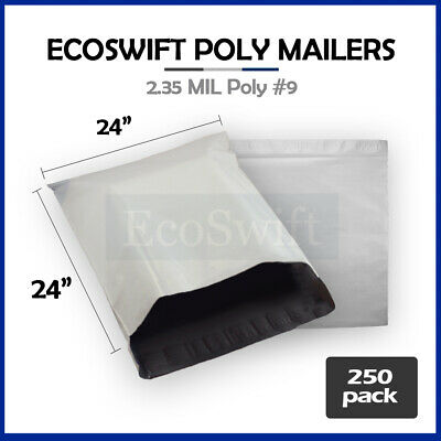 250 24 x 24 White Poly Mailers Shipping Envelopes Self Sealing Bags 2.35 MIL