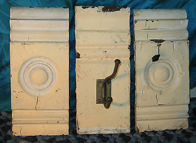 Antique Lot of 3 Old BULLSEYE WOOD MOLDING Set Wooden w BRASS HOOK Coat Hat Rack