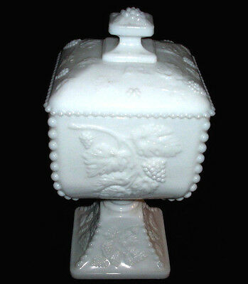 Westmoreland White Milk Glass WMG BEADED GRAPE: Large Lidded Candy Box: NR