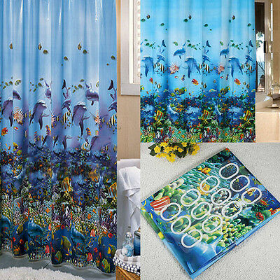Ocean Sea Life Shower Curtain Bathroom Waterproof +12PC Hooks Ring 180cm x 180cm