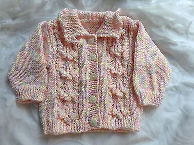 "Hand Knitted Aran Jacket Baby Girl Pink Lemon Lilac Pastel Mix Size 20"" Chest"