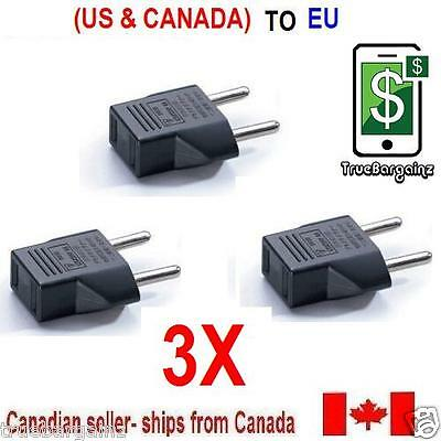 3x North American Flat to European Round Travel Wall Plug Adapter Outlet