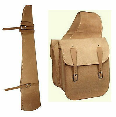 Western Trail Horse Natural Roughout Leather Saddle Bag Bags And Gun Scabbard