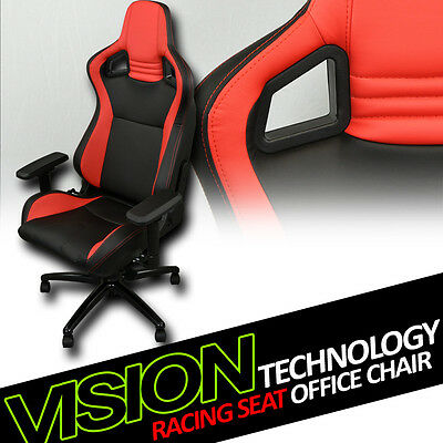 Black/Red Red Stitches PVC Leather Mu Racing Bucket Seat Game Office Chair Vt10