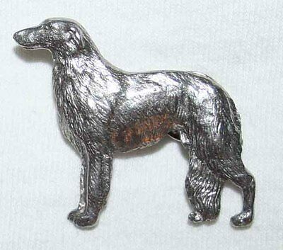 BORZOI Dog Fine PEWTER PIN Jewelry Art USA Made