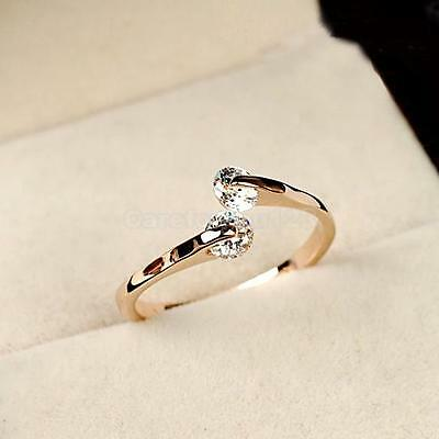 Fashion Women 18k Gold Plated Crystal Bridal Engagement Ring Size 6/7/8/9